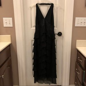 Black V-Neck Tiered Ruffle Sleeveless Midi dress